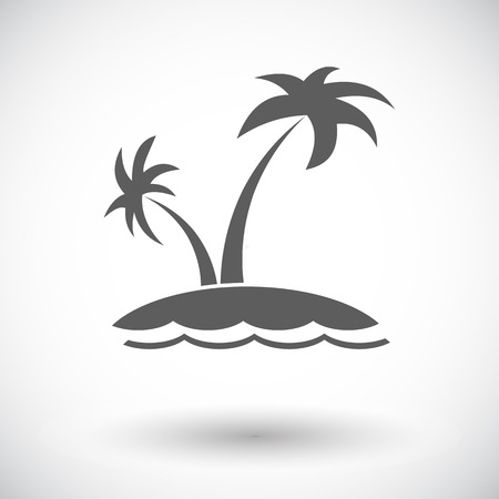 Palm tree. Single flat icon on white background. Vector illustration.