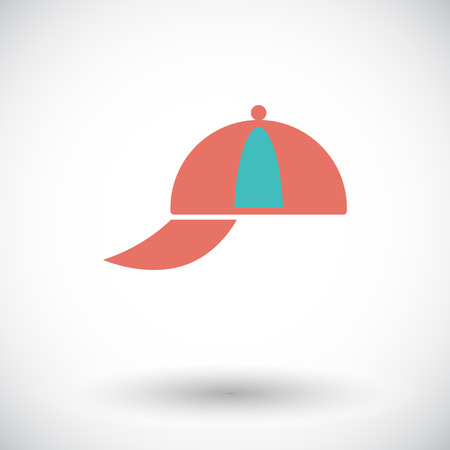 peaked: Peaked cap. Single flat icon on white background. Vector illustration. Illustration