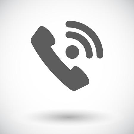 digitized: Tel�fono. Solo icono de plano sobre fondo blanco. Ilustraci�n del vector.