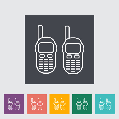 cb radio: Portable radio. Outline icon on the button. Vector illustration.