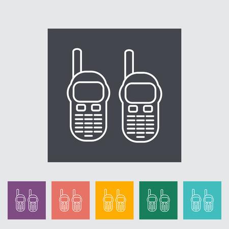 portable radio: Radio port�til. Icono del contorno en el bot�n. Ilustraci�n del vector. Vectores