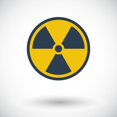 Radioactivité. Icone plat unique sur fond blanc. Vector illustration.