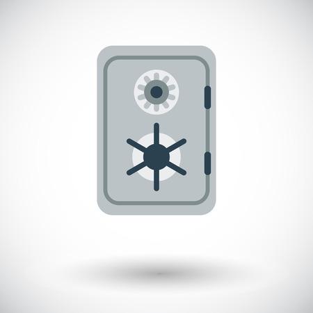 caja fuerte: Seguro. Solo icono de plano sobre fondo blanco. Ilustraci�n del vector.