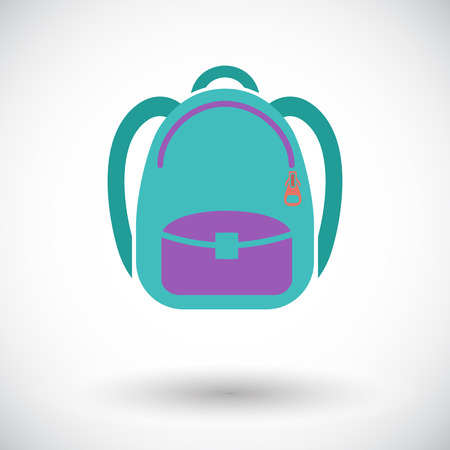 schoolbag: Schoolbag. Single flat icon on white background. Vector illustration. Illustration