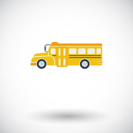 transporte escolar: Autob�s escolar. Solo icono de plano sobre fondo blanco. Ilustraci�n del vector.