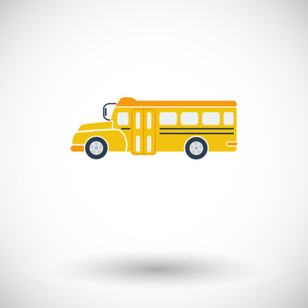 bus tour: School bus. Single flat icon on white background. Vector illustration.