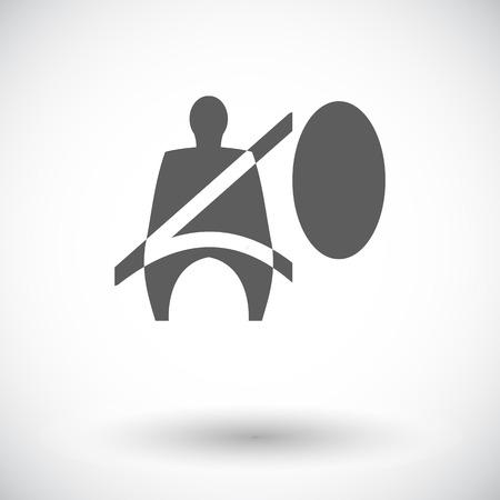 airbag: Seat belt. Single flat icon on white background. Vector illustration. Illustration