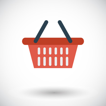 basket: Shopping basket. Single flat icon on white background. Vector illustration.