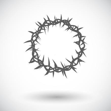 Corona de espinas. Solo icono de plano sobre fondo blanco. Ilustración del vector.