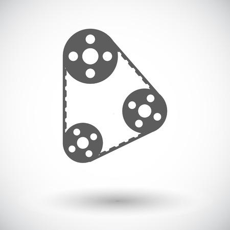 Timing belt. Single flat icon on white background. Vector illustration.