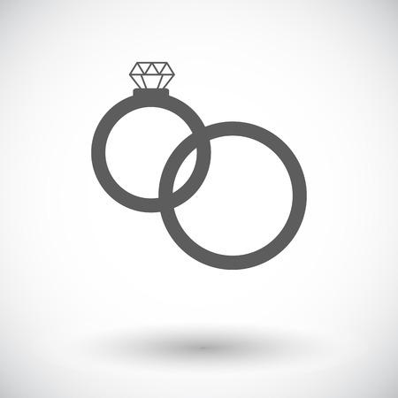 anillos de matrimonio: Los anillos de bodas. Solo icono de plano sobre fondo blanco. Ilustraci�n del vector.