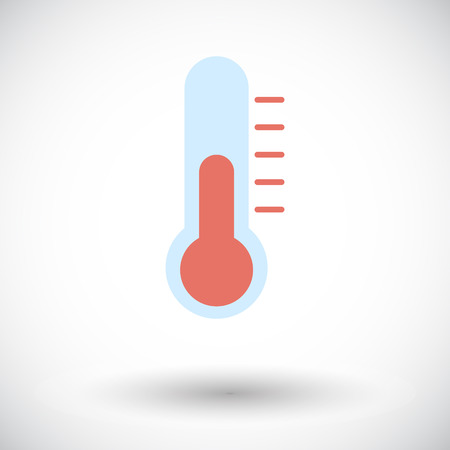 rising temperature: Thermometer. Single flat icon on white background. Vector illustration. Illustration