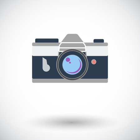 reflex camera: Vintage camera. Single flat icon on white background. Vector illustration.