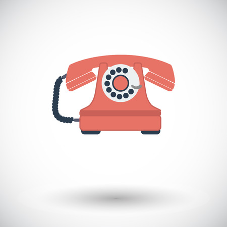 old technology: Vintage phone. Single flat icon on white background. Vector illustration.