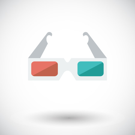 3d: 3D glasses. Single flat icon on white background. Vector illustration.