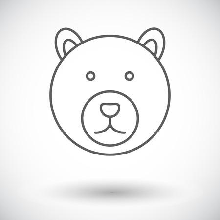 Bear. Single flat icon on white background. Vector illustration.