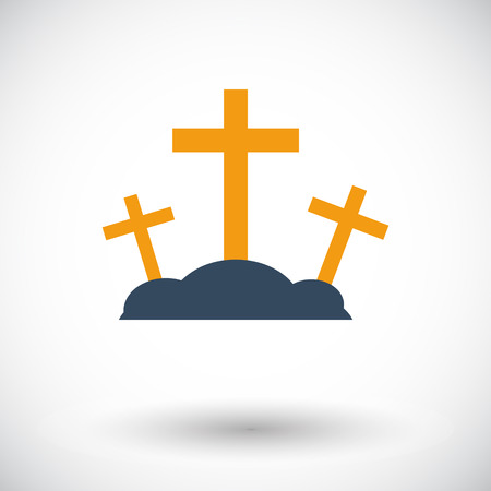 holy cross: Calvary. Single flat icon on white background. Vector illustration.