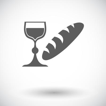 pane e vino: Pane e vino. Singola icona piatto su sfondo bianco. Illustrazione vettoriale. Vettoriali