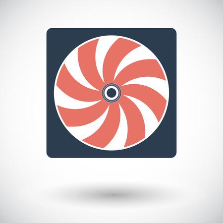 Radiator fan. Single flat icon on white background. Vector illustration. Illustration