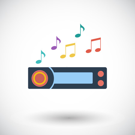 radio icon: Car radio. Single flat icon on white background. Vector illustration.