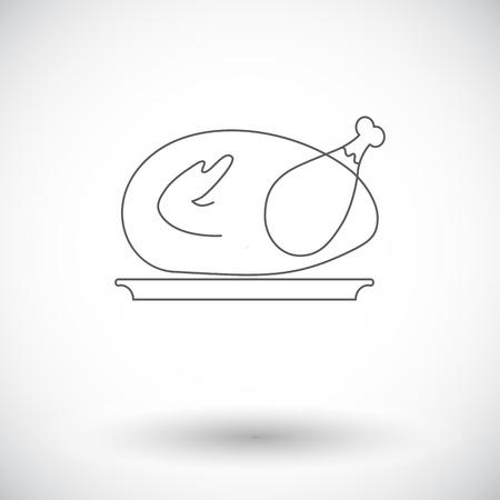 chiken: Chiken. Single flat icon on white background. Vector illustration.