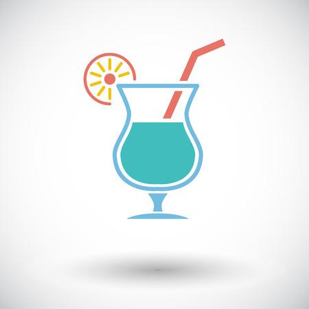 non alcoholic: Cocktail. Single flat icon on white background. Vector illustration. Illustration
