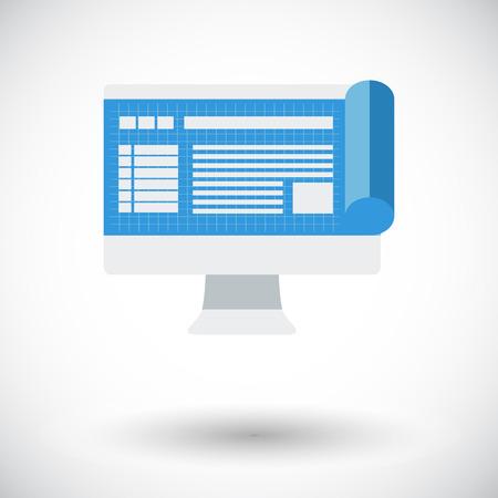 liquid crystal display: Monitor whit blueprint. Single flat icon on white background. Vector illustration.