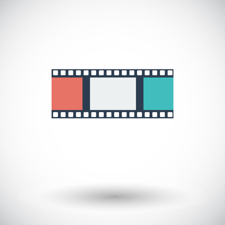 35mm film motion picture camera: Film. Single flat icon on white background. Vector illustration.