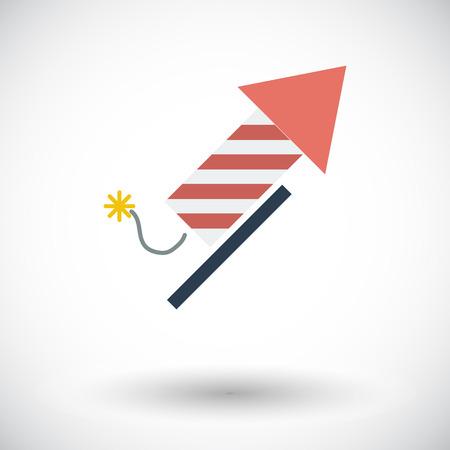 single: Firework. Single flat icon on white background. Vector illustration.