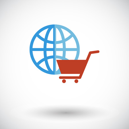 spherule: Global shopping. Single flat icon on white background. Vector illustration.