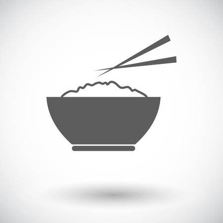 Rice. Single flat icon on white background. Vector illustration.
