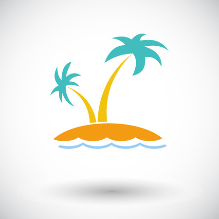 Palm tree. Single flat icon on white background. Vector illustration.
