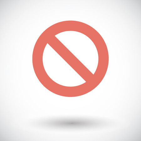 exclude: Prohibition. Single flat icon on white background. Vector illustration.