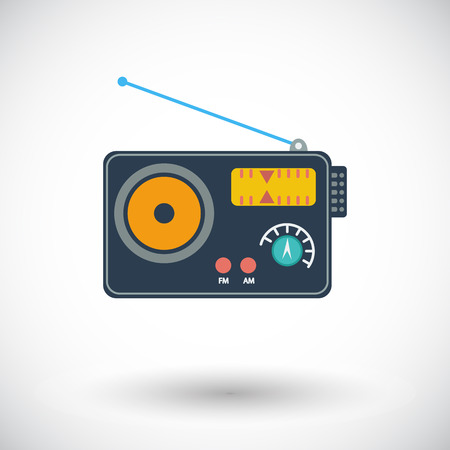 Radio. Single flat icon on white background. Vector illustration. Vector