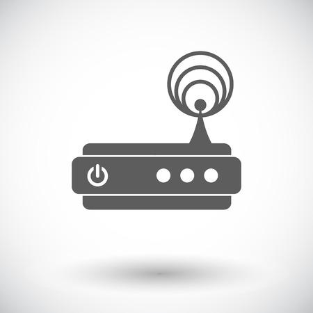 dsl: Router. Singola icona piatta su sfondo bianco. Illustrazione vettoriale.