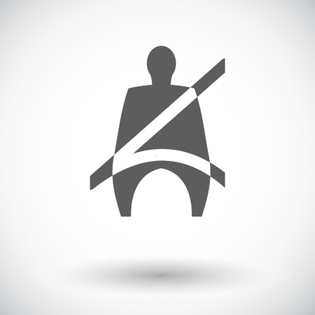 single seat: Seat belt. Single flat icon on white background. Vector illustration. Illustration