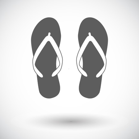 beach slippers: Beach slippers. Single flat icon on white background. Vector illustration.
