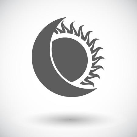 solar eclipse: Solar eclipse. Single flat icon on white background. Vector illustration.