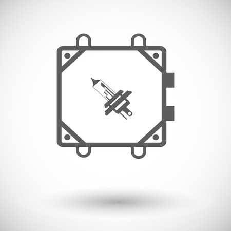 high beams: Xenon car lamp. Single flat icon on white background. Vector illustration. Illustration