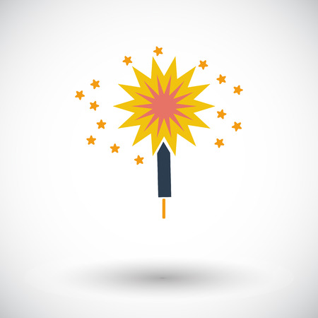 bengal light: Sparkler. Single flat icon on white background. Vector illustration. Illustration