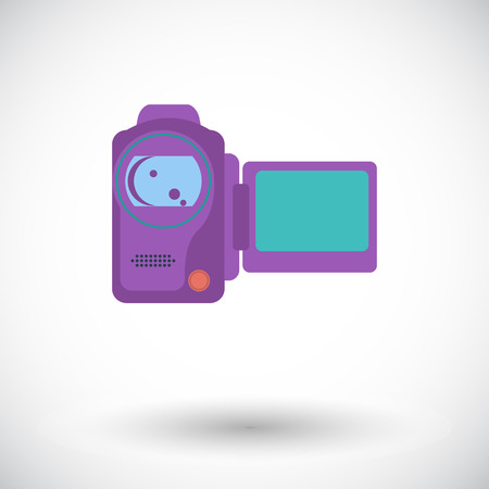 home video camera: Video camera. Single flat icon on white background. Vector illustration.