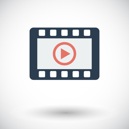 windows media video: Video. Single flat icon on white background. Vector illustration.