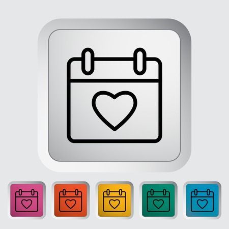 heart outline: Calendar with heart. Outline icon on the button. Vector illustration.