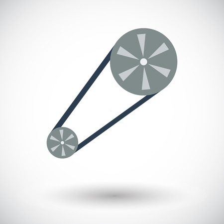 timing: Timing belt. Single flat icon on white background. Vector illustration.