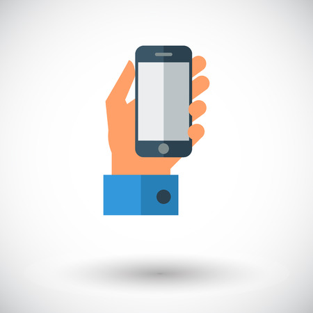 pda: Hand holding Mobile phone. Single flat icon on white background. Vector illustration.