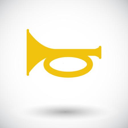 loudhailer: Horn. Single flat icon on white background. Vector illustration.