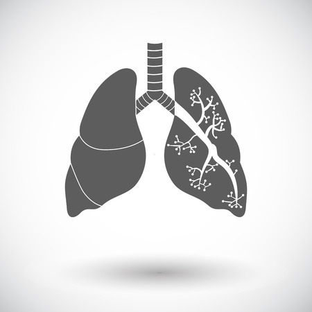 respiration: Lungs. Single flat icon on white background. Vector illustration.