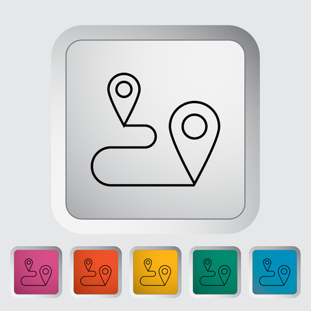 Map pointer. Outline icon on the button. Vector illustration. Vector