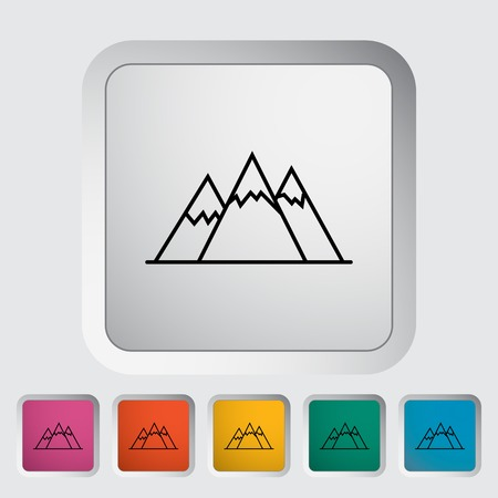 Mountain. Outline icon on the button. Vector illustration. Vector