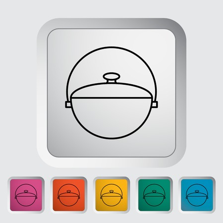 woodpile: Pot outline icon on the button. Vector illustration.